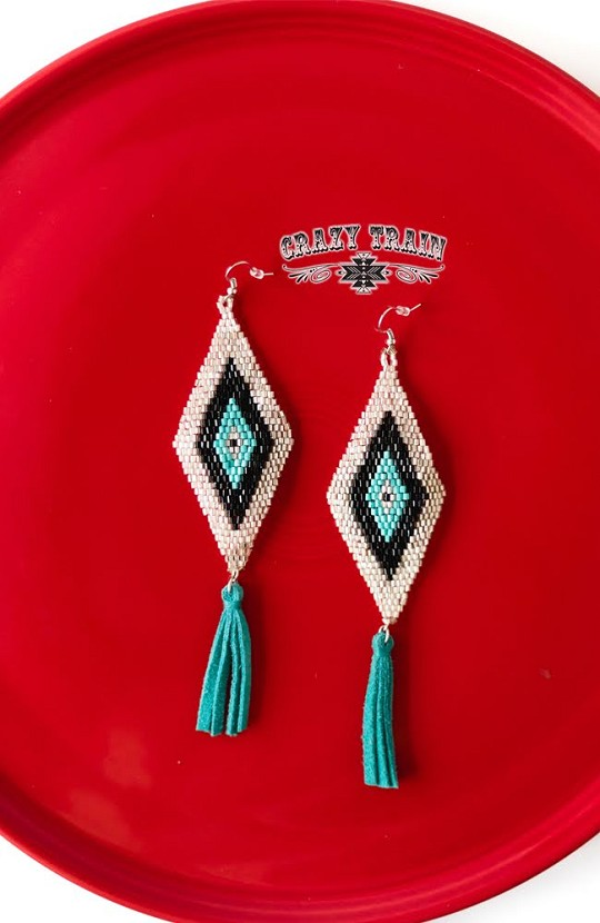 BROKEN BOW EARRINGS ** SILVER / TURQ