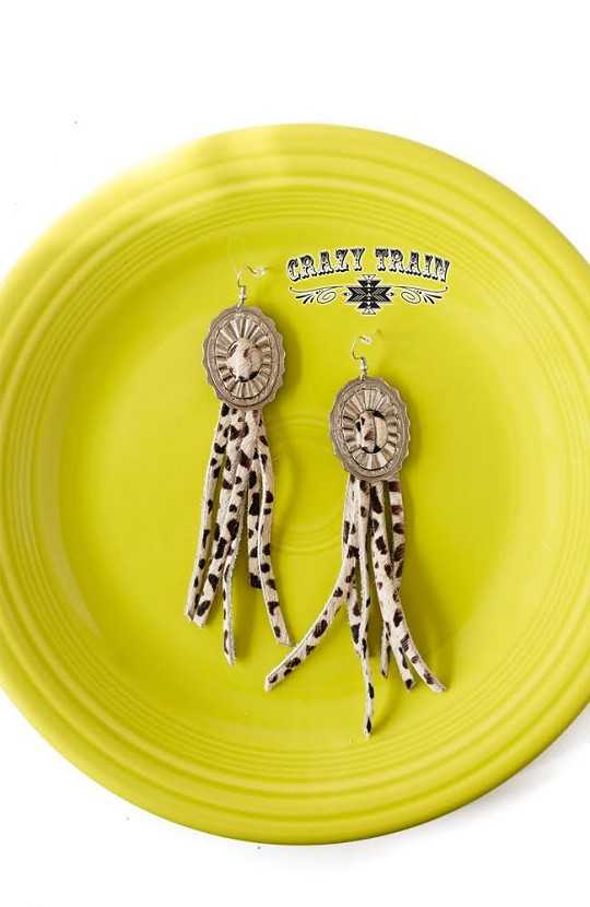 CONCHO QUEEN EARRINGS * COWHIDE