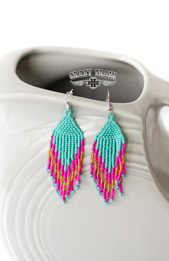 FANCY FLARE EARRINGS ** PINK / TURQ